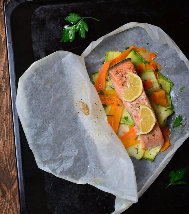 Légumes et saumons